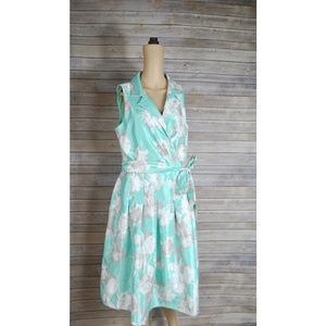 Jessica Howard Mint Floral Fit and Flare Dress